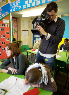 Filming in primary classroom
